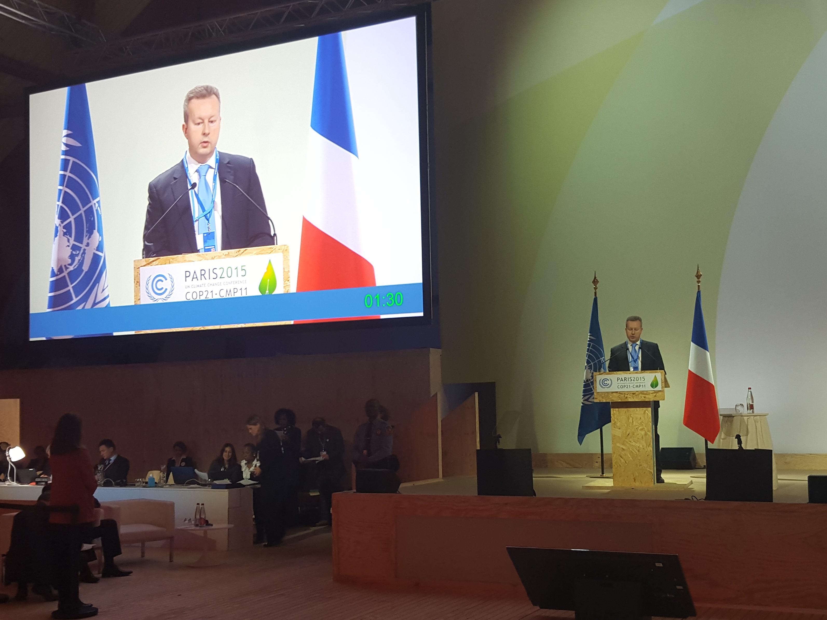Projev ministra Richarda Brabce na klimatické konferenci COP 21 v Paříži