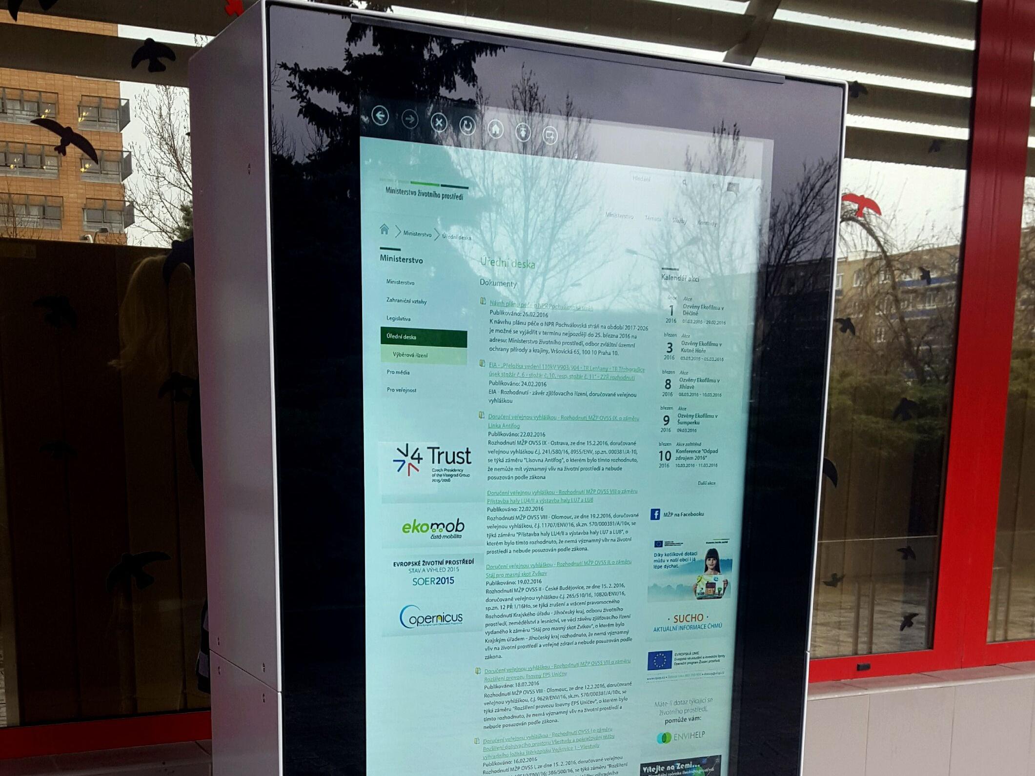 MŽP od března nabídne veřejnosti informace z papírové úřední desky elektronicky. Na dotykovém panelu