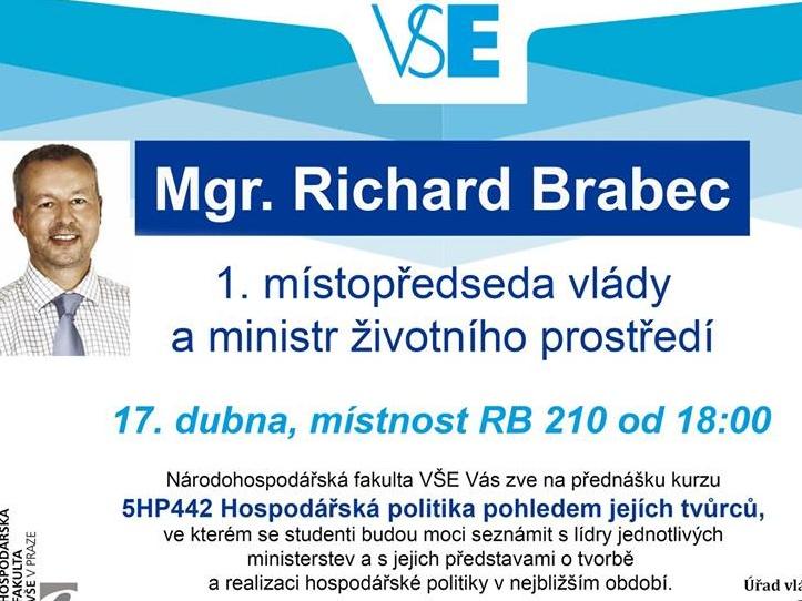 Ministr Richard Brabec přednášel na pražské Vysoké škole ekonomické