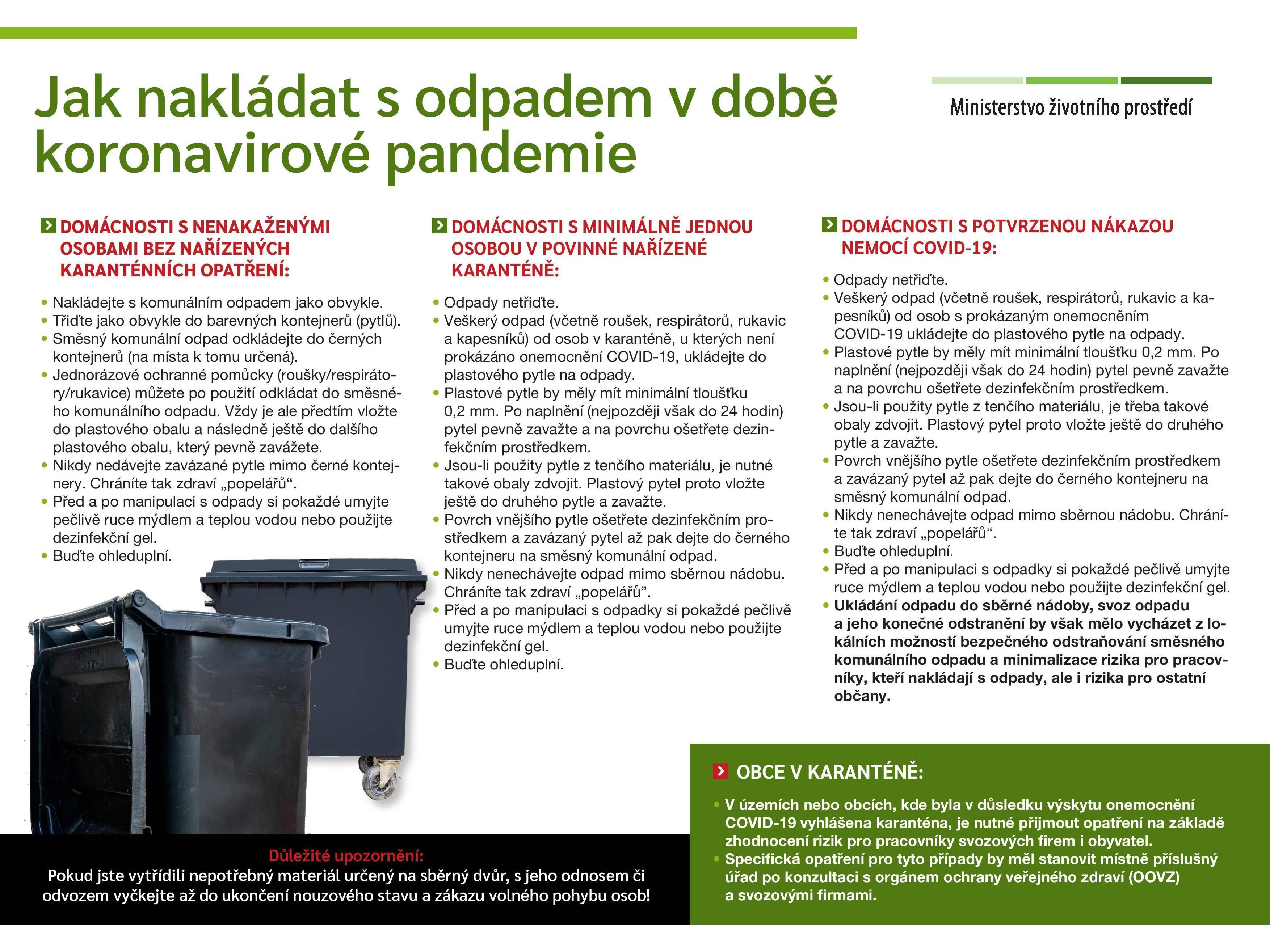Informační leták pro nakládání s odpady během koronavirové pandemie (v tiskové kvalitě v textu aktuality)
